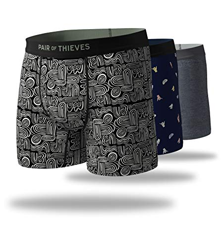 Pair of Thieves Men's 3 Pack Mega Soft Boxer Briefs, Oh Boy! (Black/Navy), Small ()