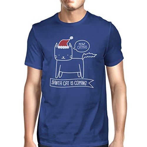 Meowy Santa Catmas camiseta est corta manga Hombres Un de 365 Printing Cat o tama Pvzq66