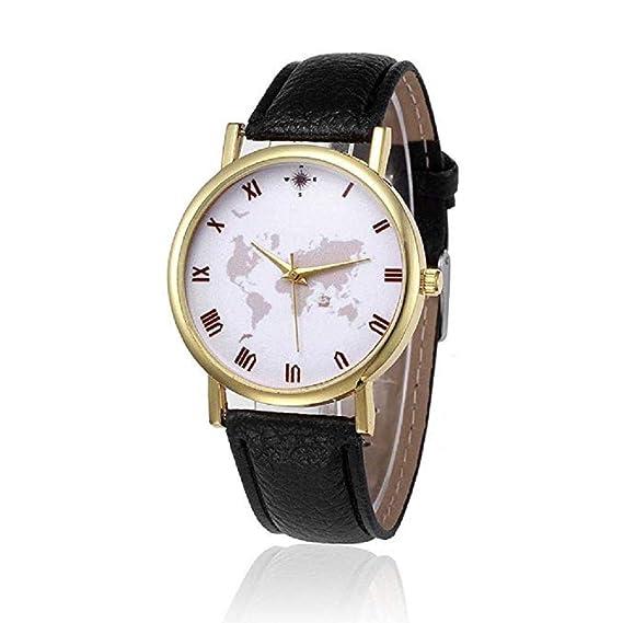 Scpink Mapa de Las Mujeres Relojes Liquidación Relojes analógicos Femeninos Relojes de Pulsera Relojes de señora de Cuero (Negro): Amazon.es: Relojes