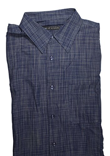 Age of Wisdom Mens Button Down Short Sleeve Shirt (Large, Navy)