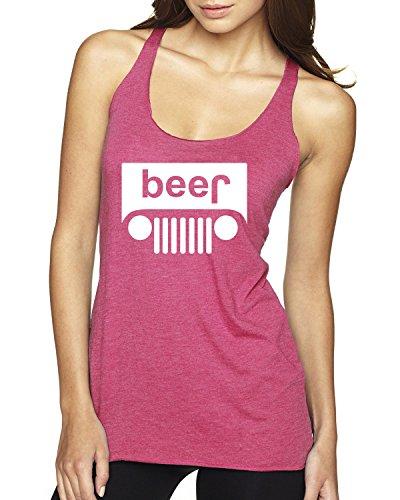 White Beer Jeep Parody Funny Drinking Premium Tri-Blend Racerback Women's Tank Top ( Vintage Pink , Medium)