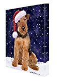 Let it Snow Christmas Holiday Airdale Dog Wearing Santa Hat Canvas Wall Art D215 (36x48)