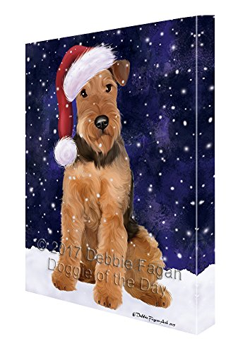 Let it Snow Christmas Holiday Airdale Dog Wearing Santa Hat Canvas Wall Art D215 (36x48) by Doggie of the Day