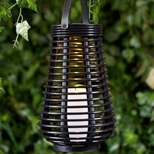 Waterproof Solar Power Lantern Lamp,Rattan Look, Rustic Solar Lanterns,Flameless Candles Lamp,LED Decorative Garden Light Table Top or Hanging (Pear shaped) (Pear Solar Garden)
