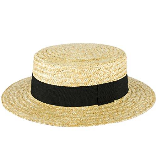 Unisex Summer Classic Sailor Skimmer Straw Boater Sun Hat Handmade In Italy - Black (Woven Hat)