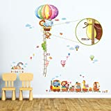 Decowall DA-1606N1406A Animal Hot Air Balloon Height Chart and Train Kids Wall Decals Wall Stickers Peel and Stick Removable Wall Stickers for Kids Nursery Bedroom Living Room