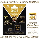 256GB Micro SD SDXC V30 A1 Memory Card Plus Adapter Pack (Class 10 U3 UHS-I MicroSD XC Extreme Pro) Amplim 256 GB Ultra High Speed 667X 100MB/s UHS-1 TF MicroSDXC 4K Flash - Cell Phone, Drone, Camera