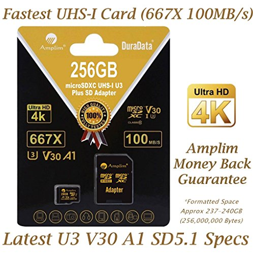 Amplim 256GB V30 A1 U3 Micro SDXC Card Plus SD Adapter. 2018 Newest Pro Extreme Class 10 UHS-I 100 MB/s MicroSD TF Flash Memory Storage for Latest Smart Phones, Ultra High Speed UHD 4K Video Cameras