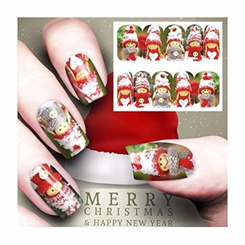 (1 Sheet Snowman Christmas Nail Art Sticker Water Transfer Nails Wrap Paint Tattoos Stamp Plates Templates Tools Tips Kits Smart Popular Xmas Winter Snow Holiday Stick Tool Vinyls Decals Kit, Type-11)