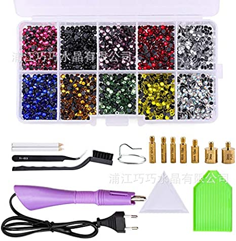 Hot Fix Rhinestone Setter Wand Tool with 7 Different Sizes Tips,Tweezers /& Brush Cleaning Kit 2 Pencils Hotfix Applicator Tool Kit 2 Plastic Plates and 2 Boxes of Hot-Fix Crystal Rhinestone