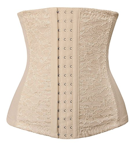 Spring Fever Women's Steel Boned Lace Underbust Breathable Waist Diet Corset B Lace Apricot XS