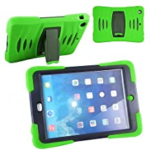 Xtra-Funky Exclusive iPad Mini 1& 2 Heavy Duty Dual Layer Silicon and Plastic Shock Absorbing Ultimate Protective Case with Built in Stand and Protective Screen layer - LIME GREEN