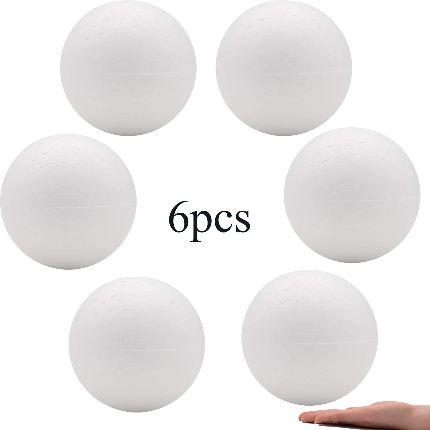 Crafare 6pc 6 Inch White Styrofoam Balls for Holiday Wedding Crafts Making Smooth polystyrene Foam Balls for School Projects