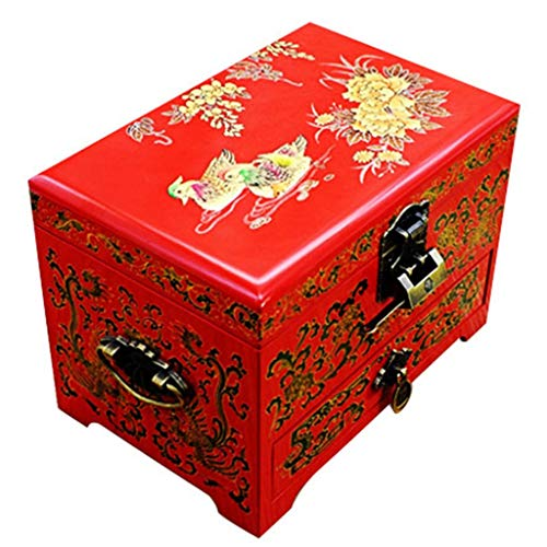 ZHAO ZHANQIANG Chinese Ancient Enamel Hand-Painted Jewel Box Art, Three Layers of Chinese Oriental Furniture and Gifts (red) (Color : Black)