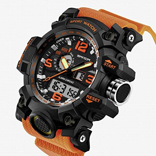 - 2017 New Brand SANDA Fashion Watch Men G Style Waterproof Sports Military Watches Shock Men's Luxury Analog Quartz Digital Watch (Orange)