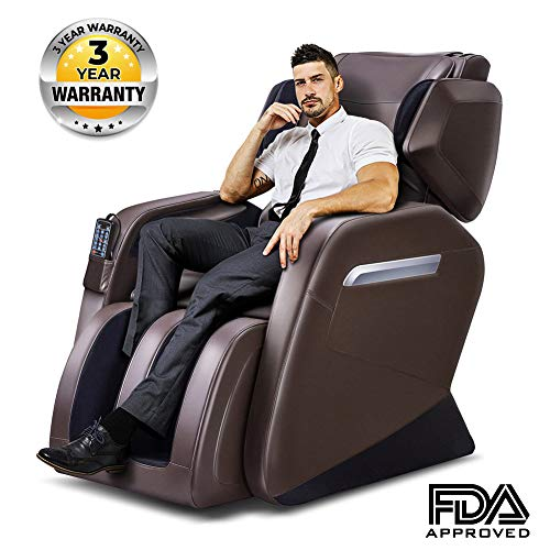 Massage Chair, Zero Gravity Massage Chair, Full Body Massage Chair with Lower-back Heating and Foot Roller Brown