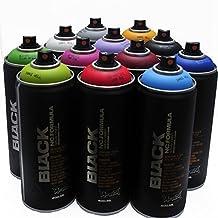 Montana BLACK 400ml Popular Colors Set of 12 Graffiti Street Art Mural Spray Paint by Montana Black