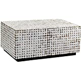 East At Main Wilkenson White Coconut Shell Inlay Rectangle Coffee Table, (35x24x16)