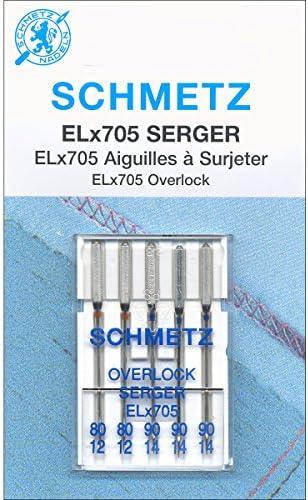 Euro-Notions 1840 ELX705 Serger Needles, Sizes 12/80 (2), 14/90 (3)