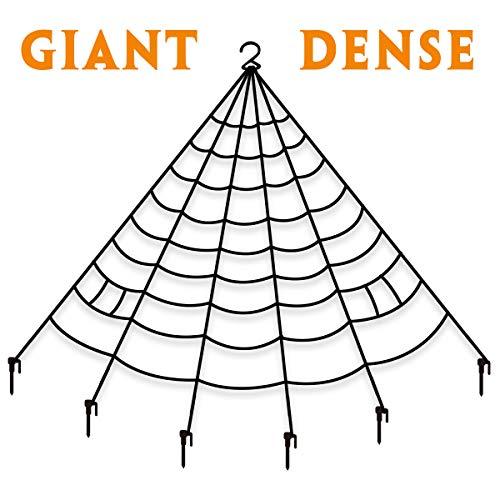 Pawliss Giant Dense Spider Web with Super Stretch Cobweb Set, Halloween Decor Decorations Outdoor Yard, Black, 16 Feet -