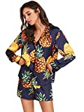 Floerns Women's Notch Collar Shorts Loose Sleepwear Two Piece Pajama Set Multi-1 XL