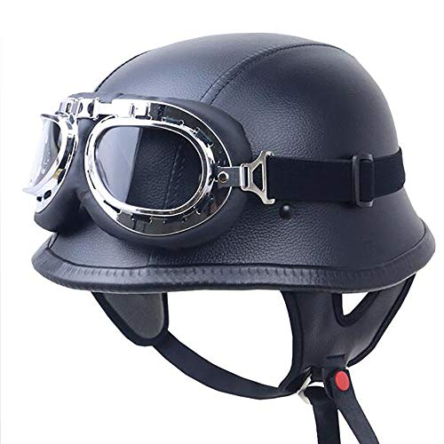 Street Leather Legal (Yedina Motorcycle Open Face Half Helmet PU Leather and Aviator Goggles Retro Jet Helmet Cruiser Defense Army Helmet DOT Certified Motorcycle Half Helmet (Matte Black),XXL)