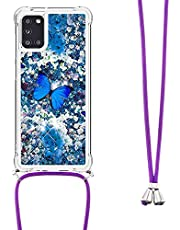 Crossbody Case voor Samsung Galaxy A03S, 3D Glitter Quicksand Vloeibare Bling Sparkle Leuke Clear Transparante TPU Lanyard Cord Gel Siliconen Shockproof Cover Beschermhoes voor Meisjes Vrouwen