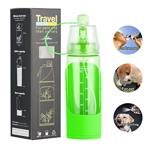 (SELMAI Human Dog Water Bottle Dispenser Portable 3 in 1 Pet Fountain 600ml Container with Spraying Mist Cat Cup Drinking Bowl for Traveling Hiking Outdoor Camping Trip in Summer,Green )