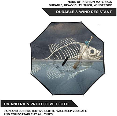 魚骨格 ユニセックス二重層防水ストレート傘車逆折りたたみ傘C形ハンドル付き