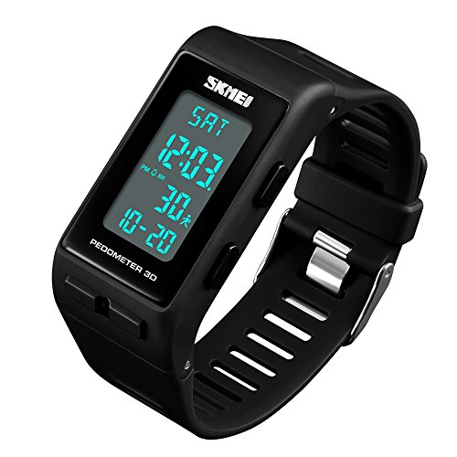 Mens Digital Sports Watch Pedometer Waterproof Running Watches for Women Unisex Back Light Multi-Function Large Face Wristwatch with Alarm