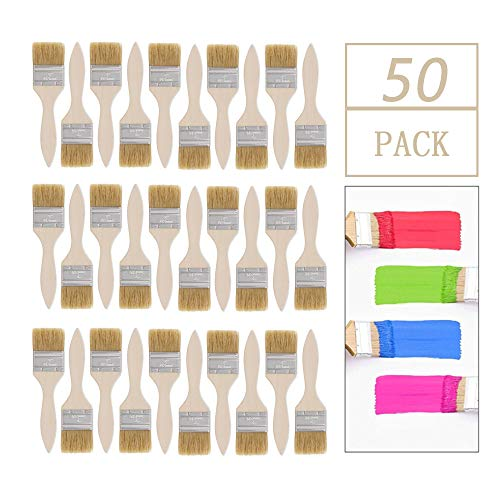 50 Pack of 2 inch Paint and Chip Paint Brushes for Paint, Stains, Varnishes, Glues, Acrylics and Gesso