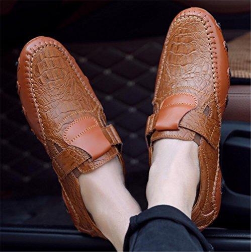 designer fashion 60bc4 ea18f Cuero Estilo Elegante Deslizamiento 39 Informal 45 Goma De Talla Plana  Hombre Brown Velcro Mocasín Zapatos Conducción Marrón ...