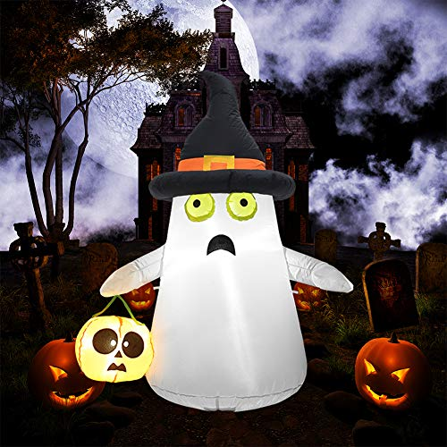 SUPERJARE Inflatable Ghost&Pumpkin, Blow Up Halloween Decoration with LED Light, 4 FT Ghost with Witch Hat, Indoor&Outdoor, Yard&Lawn Decor -