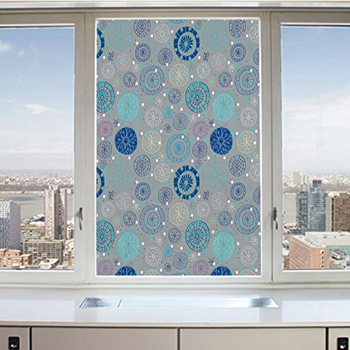 3D Decorative Privacy Window Films,Abstract Snowflakes with Beige Background Winter Celebration Theme Christmas Decorative,No-Glue Self Static Cling Glass film for Home Bedroom Bathroom Kitchen Office