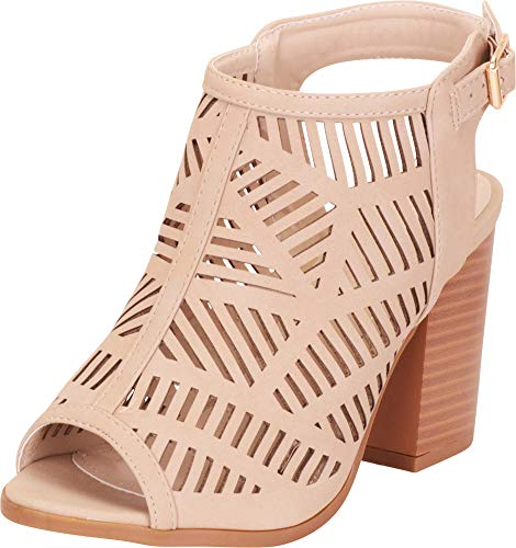 Cambridge Select Women's Open Toe Laser Cutout Caged Chunky Block Heel Ankle Bootie,8.5 B(M) US,Beige PU