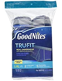 GoodNites Tru-Fit Starter Kit Boy, 2 underwear, 5 disposable inserts, Large, XL BOBEBE Online Baby Store From New York to Miami and Los Angeles