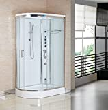 """Luxury Kokss 09002R-W Shower enclosure 47"""" x 32"""" Multi function hand shower, overhead rain, 3 body massage jets & LED Lights with touch screen computer"""