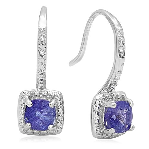 (Dazzlingrock Collection 0.42 Carat (ctw) Tanzanite & White Diamond Accents Ladies Halo Dangling Drop Earrings, Sterling Silver)