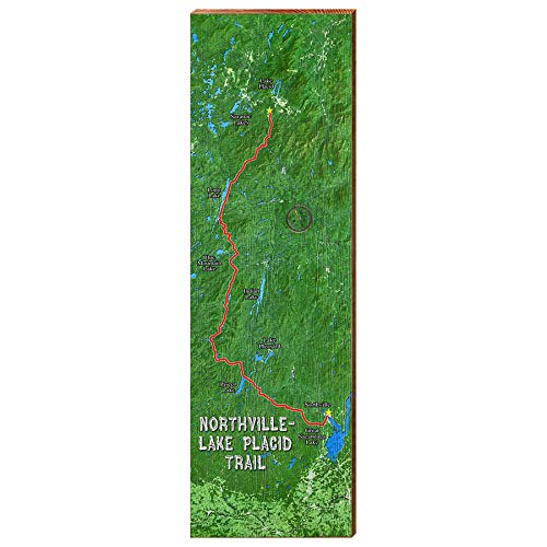 Northville, Lake Placid Trail Map Home Decor Art Print on Real Wood (9.5