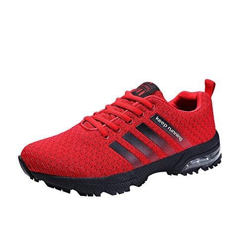 Muou Espadrille Chaussures De Course Hommes Sport Respirant Le En Plein Air Rouge Mode