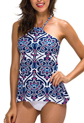ChicNChic Women's Ethnic Print Two Pieces Tankini Bikini Briefs Multicolor M