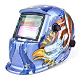 Solar Powered Welding Helmet Auto Darkening Hood with Adjustable Shade Range 4/9-13 for Mig Tig Arc Welder Mask Blue Eagle Design