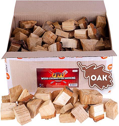 Oak smoker wood chunks - BBQ cooking wood for all smokers and grills - 20lb box of smoke hardwood chunks - Bonus e-book for smoking meat