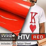 VVIVID+ Red Premium Line Heat Transfer Vinyl Film for Cricut, Silhouette & Cameo (12'' x 600'' (50ft) w/Teflon Sheet)