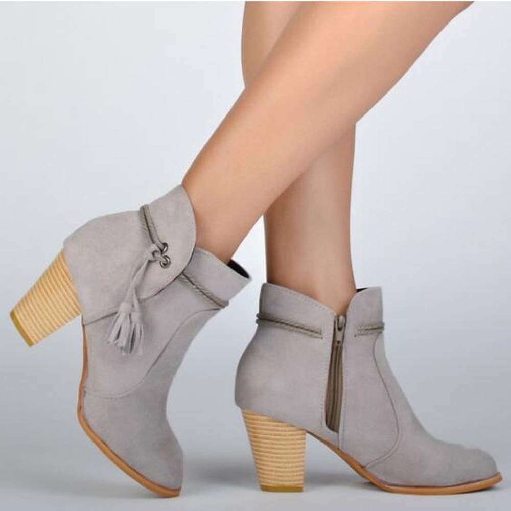 XUANOU Fashion Women Round Toe High Thick Ankle Boots Side Zipper Tassel Ankle Boots