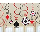 Amscan Casino Swirl Hanging Party Decoration (12 Piece), Multi Color, 10 x 9.5""