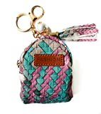 Women Leather Zipper Mini Coin Change Purse Wallet with Keychain Ring (Pink)