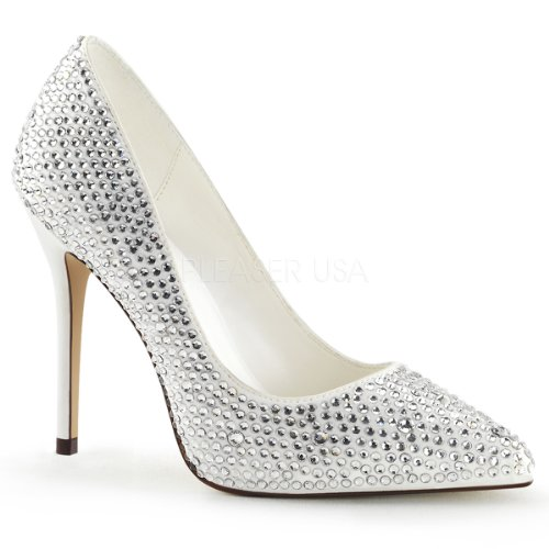 Fabulicious Vrouwen Amuse 20rs Rhinestones Mode Pumps Ivoor Satijn