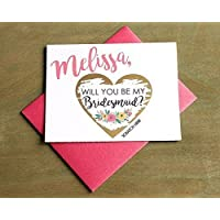 PERSONALIZED Scratch Off GOLD HEART Will you be my: Maid of Honor, Matron of Honor, Bridesmaid Ask Card with Metallic Envelope. Will you be my bridesmaid? Card