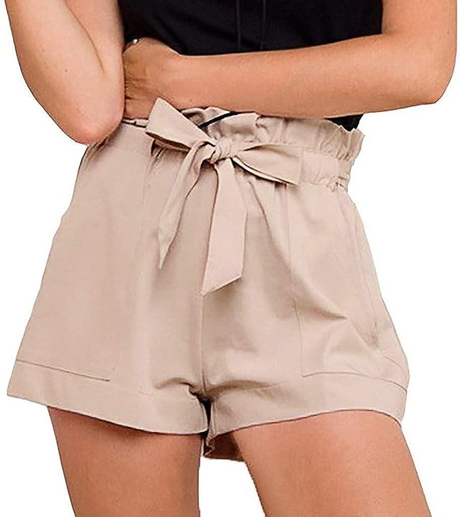 DOTBUY Estate Donna Moda Tinta Unita Bermuda Corti Pantaloni Elegante Vita Alta Shorts Elastico in Vita Ragazza Pantaloncini Vita Alta per Spiaggia Leggins Yoga